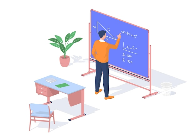 Lo studente risolve l'obiettivo di matematica vicino alla lavagna. formazione moderna con possibilità di consulenze online. banco di scuola con libri e quaderni. approccio creativo allo studio personale. isometria vettoriale realistica