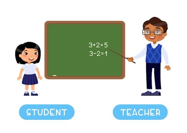 Studente e insegnante contrari flashcard opposti concetto carta di parole per l'apprendimento della lingua inglese