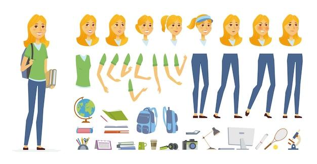 Studente - costruttore di caratteri di vettore del fumetto persone isolato su priorità bassa bianca. giovane donna graziosa, tennista. set di diverse espressioni del viso, pose, gesti per l'animazione, oggetti