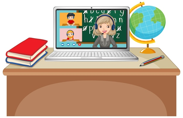 Schermata online di chat video per studenti sul laptop
