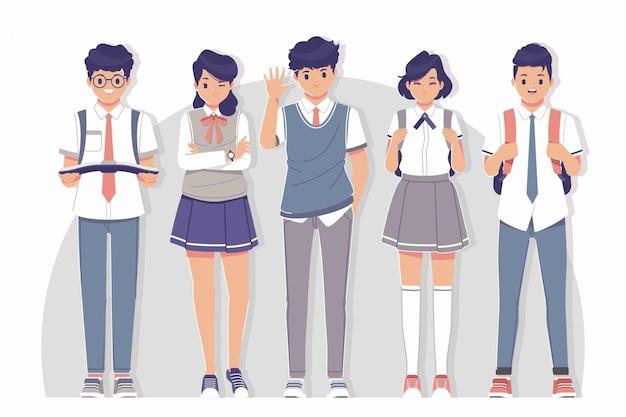 Studente che indossa una collezione di personaggi uniformi