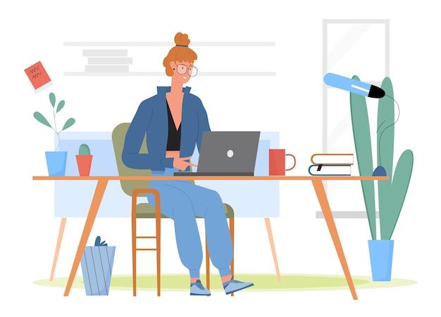 Studente che lavora a casa illustrazione.