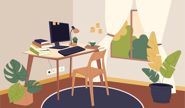 Stanza del posto di lavoro dello studente in stile cartone animato