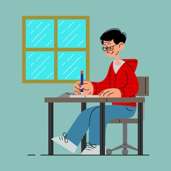 Studente che scrive su un libro nell'illustrazione vettoriale di classe