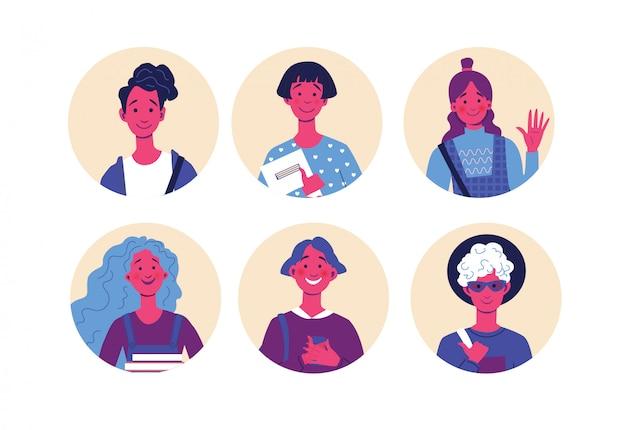Raccolta degli avatar degli studenti, serie di caratteri, ritratti degli adolescenti, illustrazione digitale di concetto piano moderno di vettore.