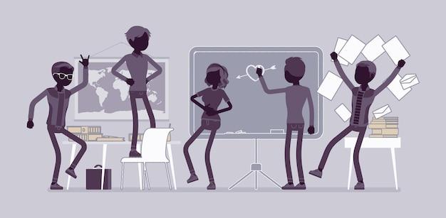 Studenti che si comportano male in classe, si prendono gioco, disordine e guai, si comportano male gli alunni disorganizzando il processo di apprendimento scolastico. vector flat style e line art cartoon illustration, black silhouette