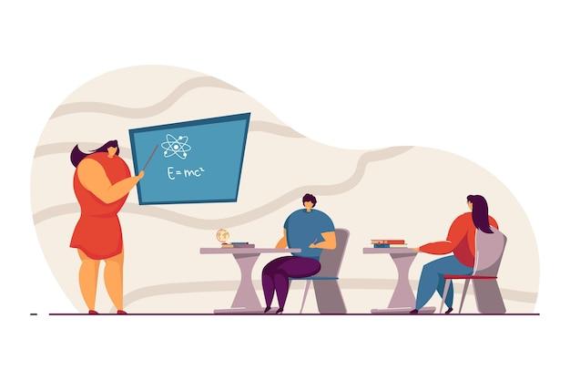 Studenti in classe a scuola. insegnante di fisica femminile che spiega la formula all'illustrazione piana di vettore dei bambini. istruzione, scuola, concetto universitario per banner, design di siti web o pagine web di destinazione