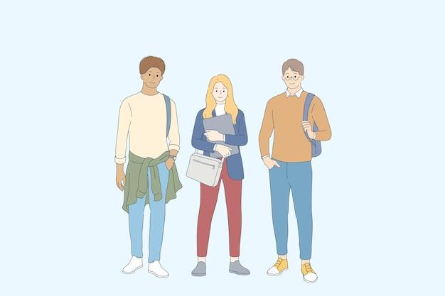 Studenti e illustrazione del concetto di amicizia