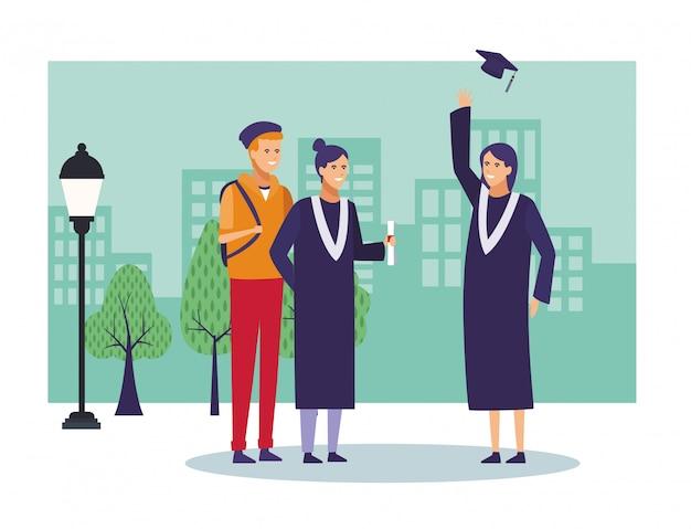 Cartoni animati di laurea degli studenti Vettore Premium