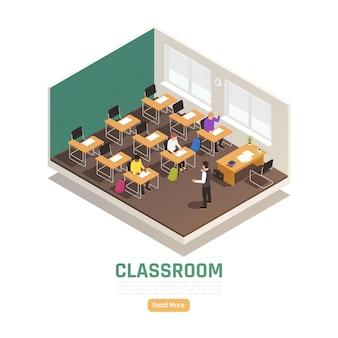 Studenti e docente nella pagina di destinazione isometrica dell'aula del liceo