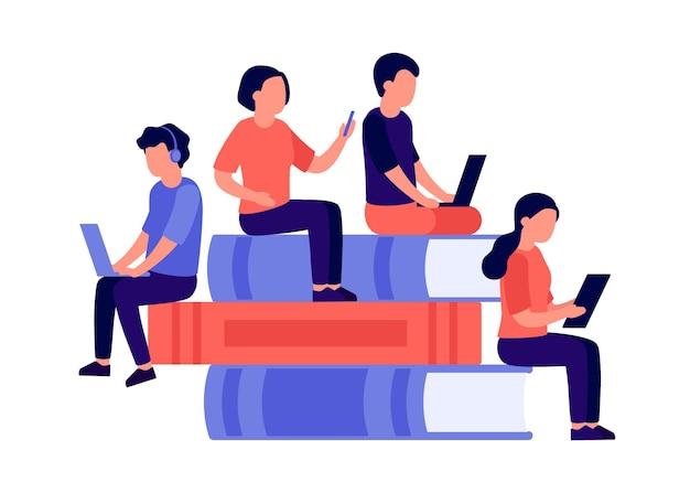 Gli studenti uomo e donna si siedono su una pila di libri leggono libri insieme imparano sulla tecnologia