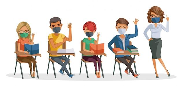 Gli studenti si mascherano con la maschera degli insegnanti. insegnare e studiare in classe. ritorno a scuola per un nuovo concetto normale. coronavirus correlati.