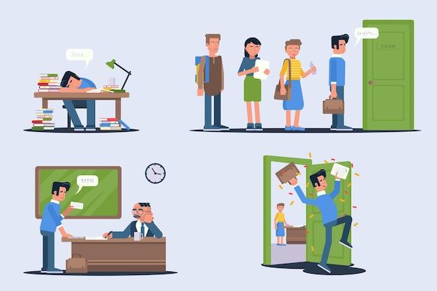 Set di illustrazioni per gli studenti che superano gli esami