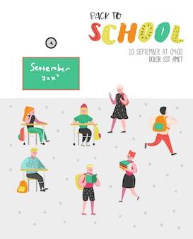 Set di caratteri di studenti e alunni. torna a scuola poster per bambini