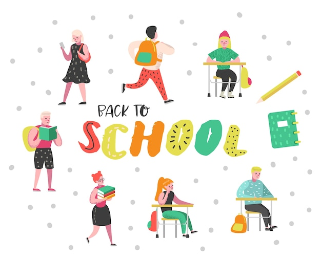 Set di caratteri di studenti e alunni