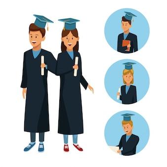 Studenti in cartone animato di accappatoio Vettore Premium