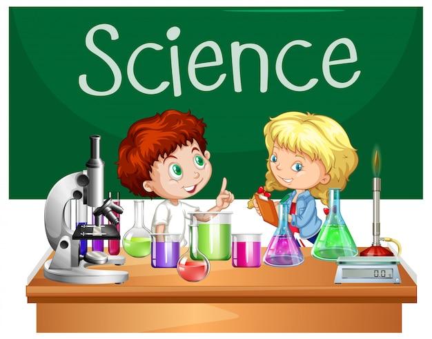 Studenti nella classe di scienze Vettore Premium