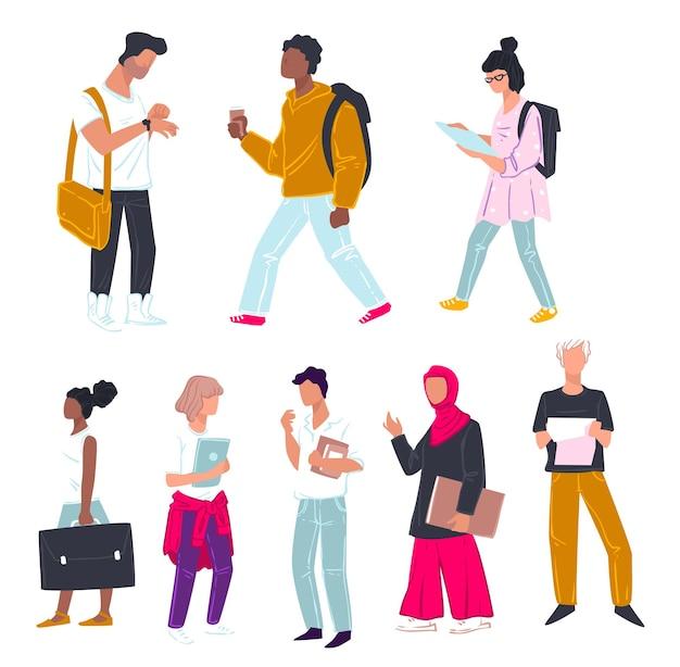 Studenti che studiano al college o all'università, personaggio maschile e femminile isolato con libri e documenti