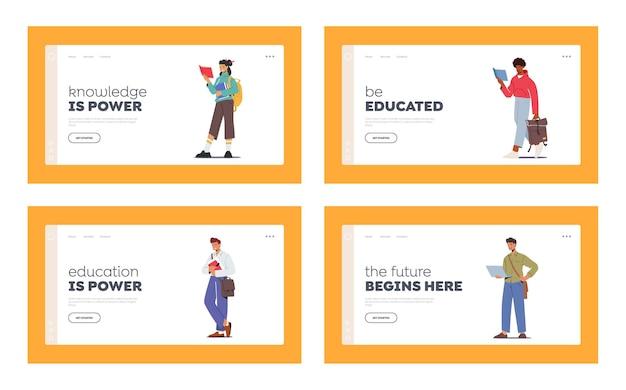 Studenti che studiano insieme di modelli di pagina di destinazione