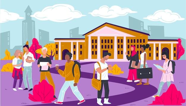 Studenti che camminano per istituto scolastico, adolescenti per università o college