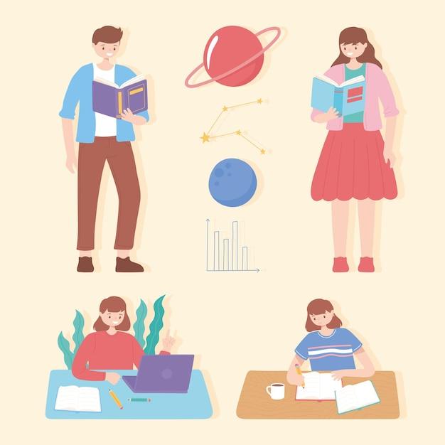 Studenti con libri di testo, lettura e studio dell'illustrazione dell'istruzione