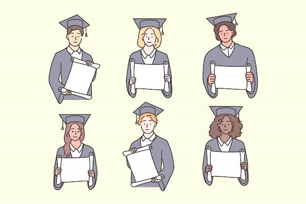 Studente, laurea, diploma, multicultural set concept