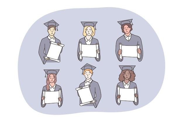 Borsa di studio, laurea, concetto di set di diploma.