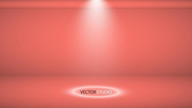 Sfondo di studio. vector vuoto living coral studio per la progettazione, riflettori. grafica vettoriale