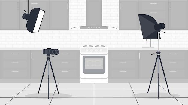 Studio per vlog di cucina. cucina elegante in uno stile piatto. mobili da cucina, fornelli, forno, videocamera, softbox. sfondo per cucinare vlog. vettore.