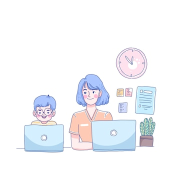 Studia da casa con la mamma
