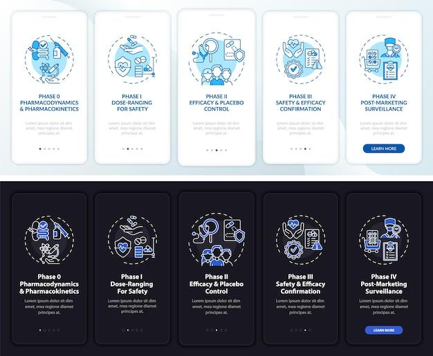Fasi di studio sulla schermata della pagina dell'app mobile onboarding con i concetti