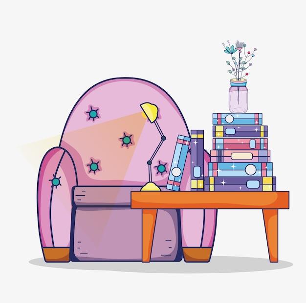 Interno sala studio con libri e scrivania