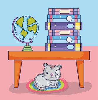 Interno sala studio con libri e scrivania Vettore Premium