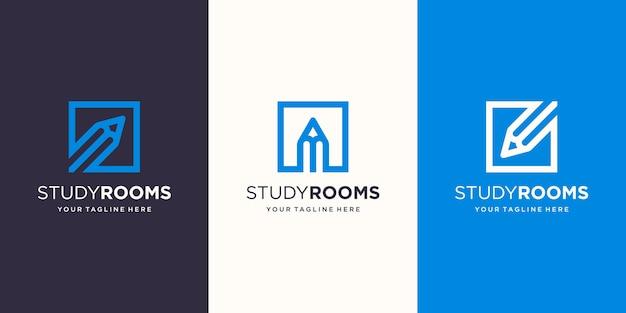 Sala studio, matita combinata con il modello di design del logo in stile arte linea quadrata