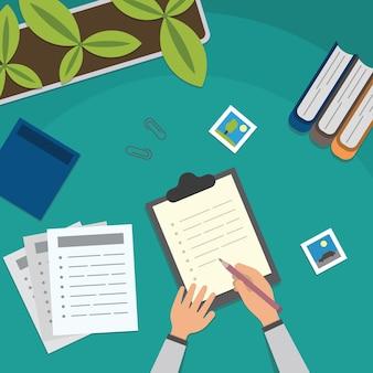 Tavolo da studio e illustrazione del desktop di lavoro. lezione di scuola che studia ed elementi educativi vista dall'alto