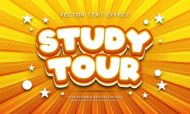 Effetto di testo modificabile del tour di studio con temi di vacanza