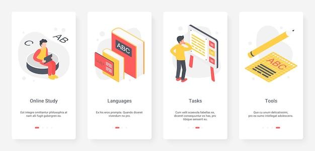 Studio di lingua straniera, ux dell'istruzione, set di schermate della pagina dell'app per dispositivi mobili di onboarding dell'interfaccia utente