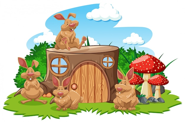 Casa di ceppo con tre mouse in stile cartone animato
