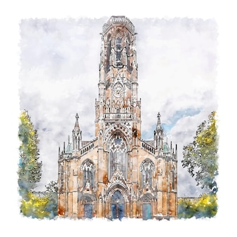 Illustrazione disegnata a mano di schizzo dell'acquerello di stoccarda germania