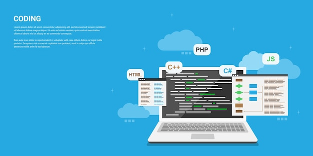 Banner di stile, codifica, programmazione, concetto di sviluppo di applicazioni