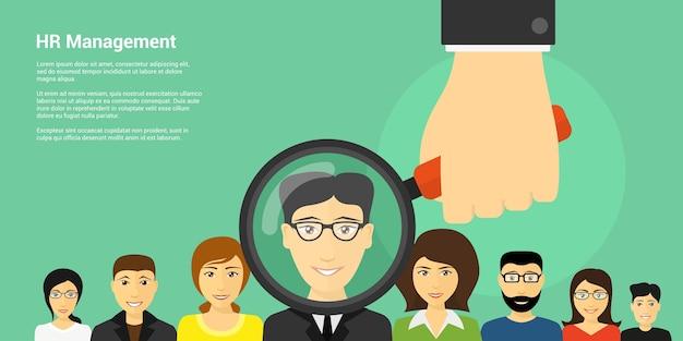 Banner di stile del concetto di gestione delle risorse umane, immagine della mano umana che tiene la lente di ingrandimento con avatar di persone sullo sfondo