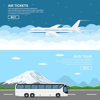 Striscioni di stile, che volano pianamente sopra il cielo, autobus in movimento davanti alle montagne, illustrazione stile piatto