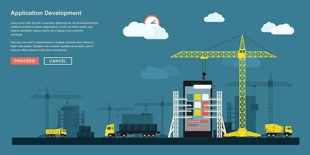 Concetto di stile per il processo di lavoro di sviluppo di applicazioni per smartphone, rappresentazione metaforica del flusso di lavoro di sviluppo di app come la costruzione industriale con gru di sollevamento, camion ecc.