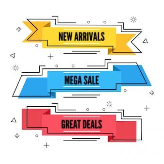 Stile di vendita piatta e design di banner di sconto