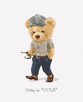 Slogan di stile con il giocattolo dell'orso nell'illustrazione del costume di modo