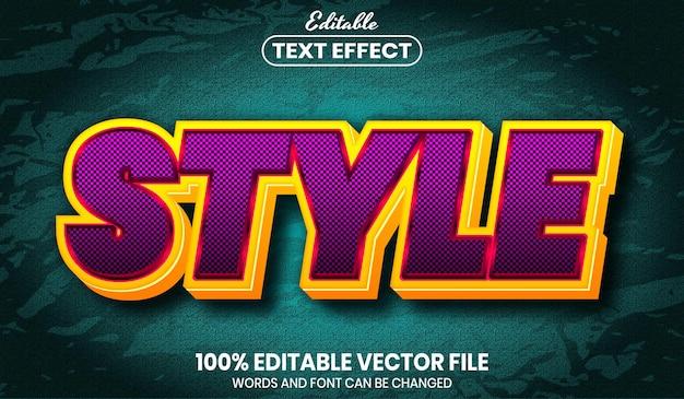 Stile del testo, effetto del testo modificabile in stile carattere