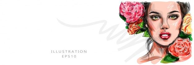 Schizzo di arte alla moda. trucco del viso di giovane donna glamour disegnato a mano con bellissimi occhi. viso carino con il trucco. fiori di peonia.