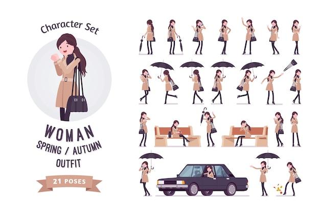 Elegante donna attraente che indossa cappotto classico autunno primavera vestiti