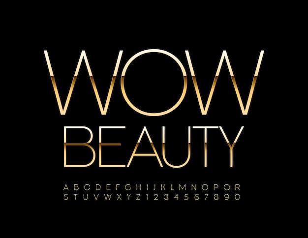 Banner elegante wow beauty set di lettere e numeri dell'alfabeto in oro lucido con font lucido