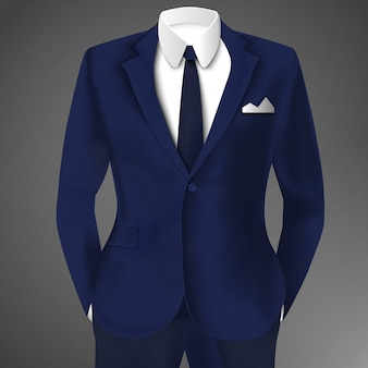 Elegante abito blu di affari con cravatta e camicia bianca